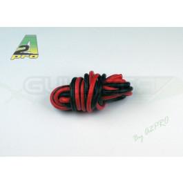 Cable silicone awg12 3.58mm2 1m de rouge et 1m de noir