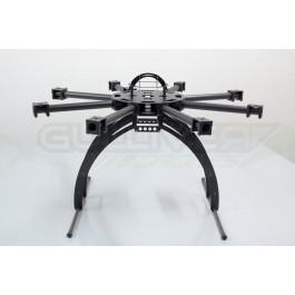 Chassis Octocopter quadframe bras carbone 400mm de 25mm avec supports pour moteurs 35mm