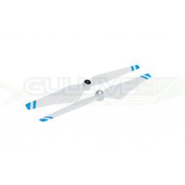 """Hélices 9.4""""x5"""" Dji avec écrous intégrés en aluminium pour Phantoms (Bandes Bleues)"""