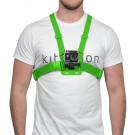 Harnais de poitrine vert fluo pour fixation caméra type GoPro