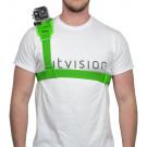 Harnais d'épaule vert fluo pour fixation caméra type GoPro